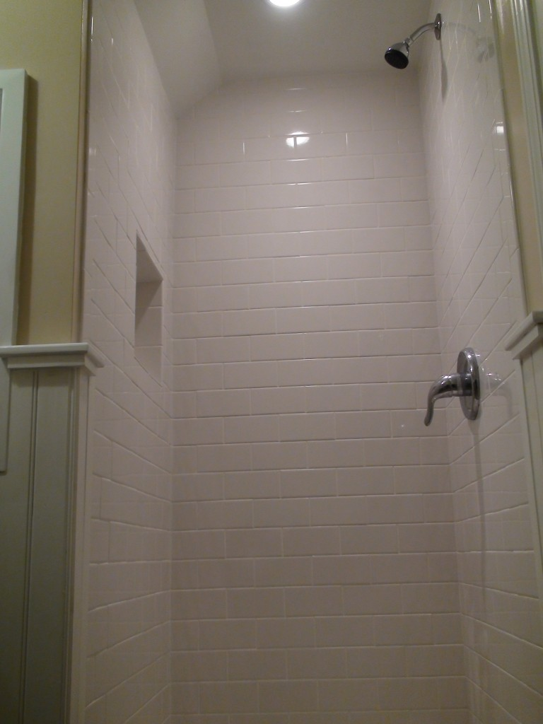basement bathroom from half to full one home made. Black Bedroom Furniture Sets. Home Design Ideas