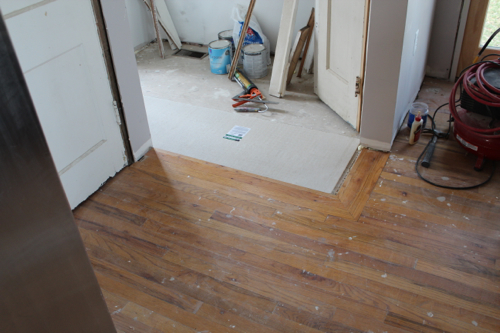 Floor prep one home made for Mudroom floors