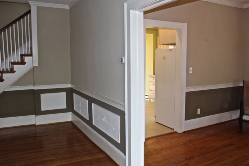 coffered ceiling wainscoting one home made. Black Bedroom Furniture Sets. Home Design Ideas