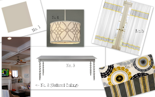 "No.1: ""Anew Gray"" paint by Sherwin Williams for the dining room walls. No. 2: Coffered Ceiling No. 3: Gray dining room table No.4: Drum shade light (this one is from Shades of Light) No. 5: Gray, White & Yellow curtains to go with No. 6 which I had already picked out and used as the starting point for the room's design."