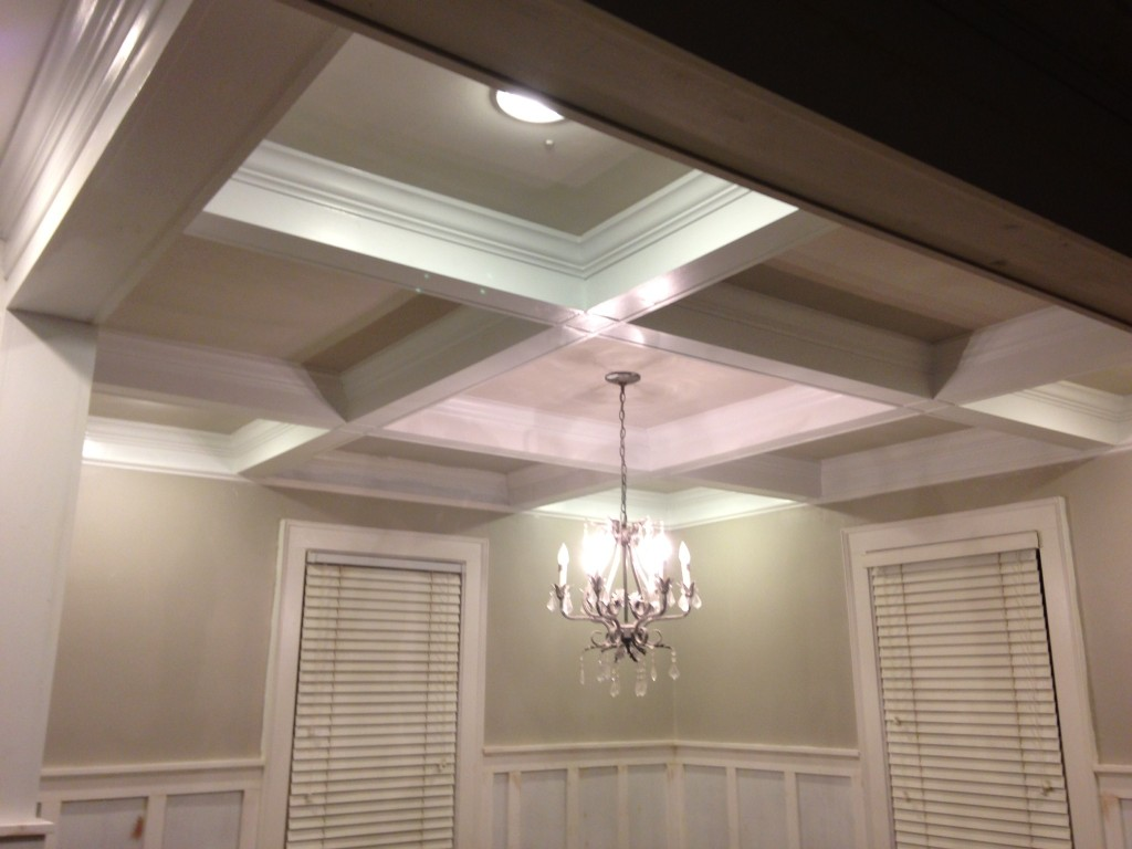 Coffered ceiling completed. It just needed a new light at this point.