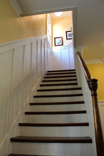 Wainscoting up the stairwell.