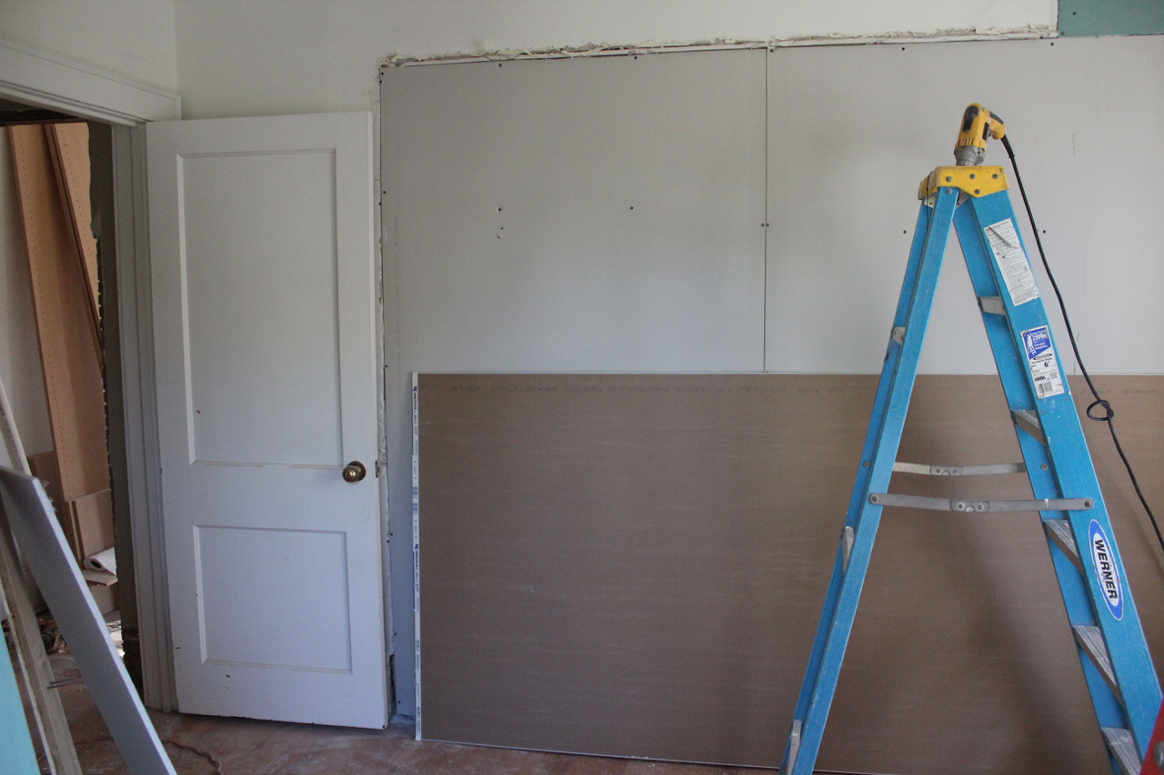 View of the new wall from inside the girls' room.